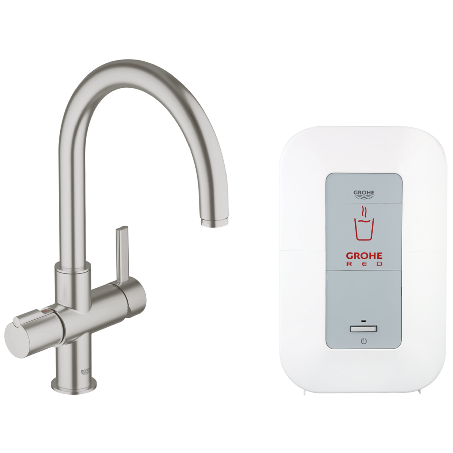 Grohe Red keukenkraan duo inclusief single boiler 4 liter 2100W RVS