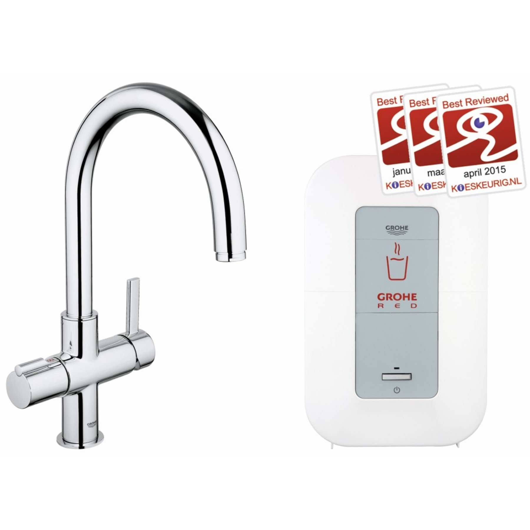 Grohe Red keukenkraan duo inclusief single boiler 4 liter 2100W chroom