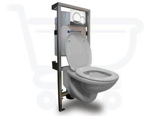 Plieger Brussel toilet set met Geberit Inbouwreservoir inclusief soft close toiletzitting afdekplaat chroom SW1093