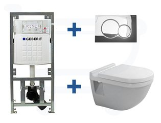 Duravit Philippe Starck 3 inbouwreservoir set soft close zitting afdekplaat chroom SW2998