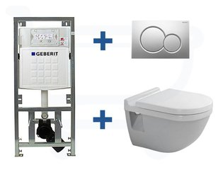 Duravit Philippe Starck 3 inbouwreservoir set soft close zitting afdekplaat mat chroom SW3003