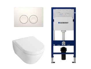 Villeroy en Boch Subway 2.0 toiletset met luxe zitting, UP100 reservoir en Delta 21 Wit Knop SW8424