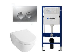 Villeroy en Boch Subway 2.0 Compact met basic zitting, UP100 reservoir en Delta 21 Mat Chroom Knop SW8427