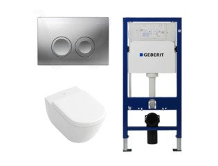 Villeroy en Boch Subway 1.0 met luxe zitting, UP100 reservoir en Delta 21 mat chroom SW8431