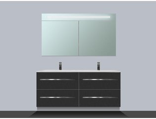 Saniclass Exclusive line Kera 120 badmeubel met spiegelkast Black Diamond 4 lades SW8938