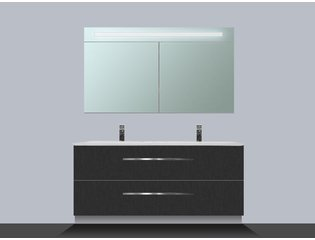 Saniclass Exclusive line Kera 120 badmeubel met spiegelkast Black Diamond 2 lades SW8342
