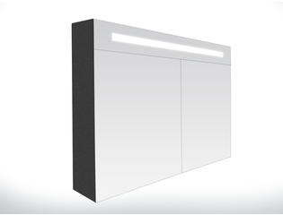 Saniclass Double Face Armoire toilette 80x70x15cm avec 2 portes et éclairage LED Black Diamond