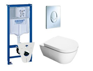 Throne Bathrooms Salina toiletset met inbouwreservoir, closetzitting met softclose en bedieningsplaat chroom SW10180