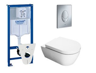 Throne Bathrooms Salina toiletset met inbouwreservoir, closetzitting met softclose en bedieningsplaat mat chroom SW10179