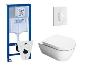 Throne Bathrooms Salina toiletset met inbouwreservoir, closetzitting met softclose en bedieningsplaat wit SW10178