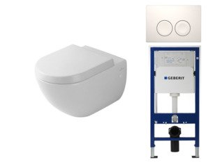 Villeroy en Boch Subway 1.0 met basic zitting UP100 reservoir en Delta 21 bedieningsplaat wit SW9088
