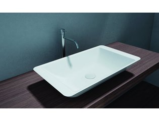 Cross Tone Solid surface opbouwwastafel B59.5xD34.5xH10.5cm rechthoek wit mat CTS2059