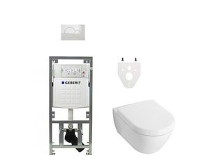 Villeroy en Boch Subway 2.0 DirectFlush toiletset met Geberit reservoir en bedieningsplaat softclose wit SW17685