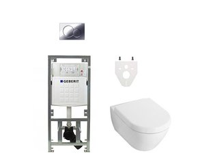 Villeroy en Boch Subway 2.0 DirectFlush toiletset met Geberit reservoir en bedieningsplaat softclose chroom SW17686