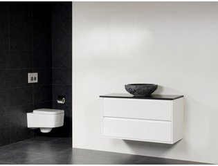 Saniclass New Future Corestone13 vasque à poser naturelle meuble 100cm Blanc brillant sans miroir SW17791