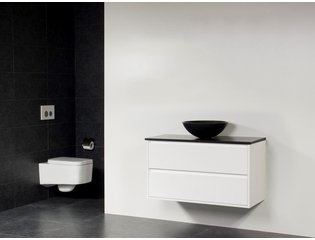 Saniclass New Future Corestone13 vasque à poser noir meuble 100cm Blanc brillant sans miroir SW17793