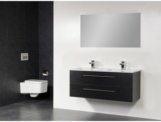 Saniclass Exclusive line Kera 120 badmeubel Black Diamond met spiegel 2 lades SW1025