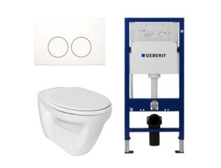 Ideal standard Toiletset vlakspoel met basic zitting UP100 reservoir en Delta 21 Wit Knop SW20350