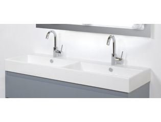 INK Unlimited lavabo porcelaine 100x45x11cm 1 vasque et 2 trous de robinet avec siphon porcelaine blanc DESTOCKAGE OUT5488