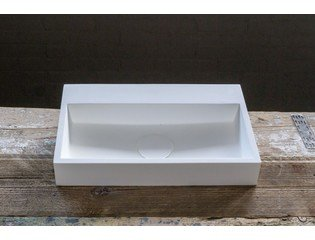 Cross Tone Solid Surface fontein 38x24x7cm rechthoek wit SW21719