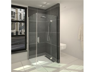 Saniclass Cansano Cabine de douche carré 100x100x195cm 1 porte pivotante verre clair chrome DESTOCKAGE OUT5328