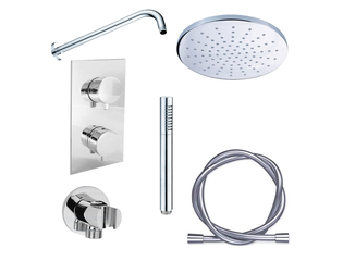 adema shower set de douche encastrable avec douche de t te 20cm et support mural complet chrome. Black Bedroom Furniture Sets. Home Design Ideas