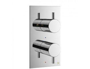 Crosswater MPRO inbouw thermostatisch douchekraan verticaal 2 weg met greeps in chroom SW31261