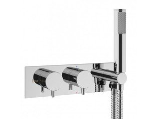 Crosswater MPRO inbouw thermostatisch bad/douchekraan horizontaal 2 weg met handdouche set in chroom SW31242
