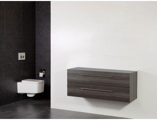 Saniclass Exclusive Line Small onderkast 99x39x50cm 2 lades met softclose MFC legno antracite SW30732