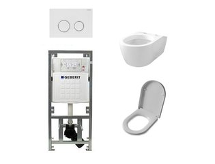 Throne Bahtrooms Salina Set encastrable avec WC suspendu abattant softclose et plaque de commande Sigma20 blanc SW32453