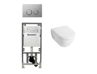 Villeroy en boch Subway 2.0 Inbouwset met wandclosetpot wit soft close zitting afdekplaat sigma20 chroom SW32461