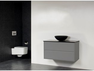 Saniclass new future corestone13 vasque poser noir for Salle de bain sans fenetre ni aeration