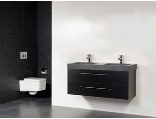 Saniclass Exclusive line Grey Stone 120 badmeubel black wood 2 laden 2 kraangaten zonder spiegel SW21694
