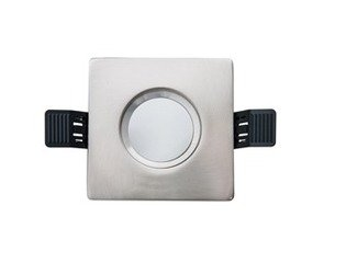 Interlight LED spot set IP65 dimbaar vierkant 90mm met driver 36° richtbaar geborsteld chroom 4246936
