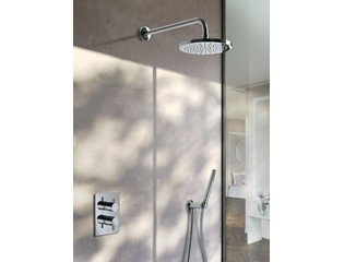 Hotbath IBS 2A Set de douche mitigeur thermostatique à encastrer Laddy V avec inverseur chrome modèle stick et bras mural 20cm SW12112