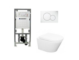 Throne Bathrooms Salina Set de WC Rimless 52cm avec réservoir UP320 et abattant softclose et plaque de commande blanc SW69584