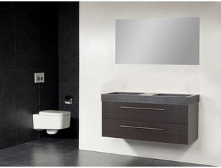 Saniclass Exclusive line Grey Stone 120 badmeubel black diamond 2 laden 0 kraangaten met spiegel SW21688