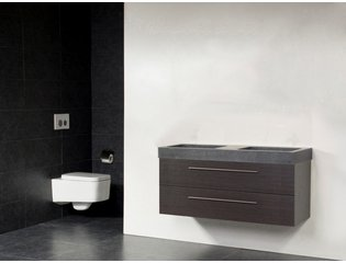 Saniclass Exclusive line Grey Stone 120 badmeubel black diamond 2 laden 0 kraangaten zonder spiegel SW21698