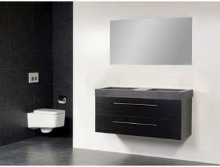 Saniclass Exclusive line Grey Stone 120 badmeubel black wood 2 laden 0 kraangaten met spiegel SW21689