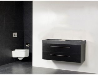Saniclass Exclusive line Grey Stone 120 badmeubel black wood 2 laden 0 kraangaten zonder spiegel SW21699