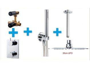 Praya One Pack Set de douche thermostatique encastrable avec bras plafond et douche de tête plat 30cm chrome SW62603