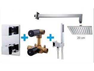 Praya One Pack Set de douche thermostatique encastrable carré avec bras mural et douche de tête 20cm chrome SW62589
