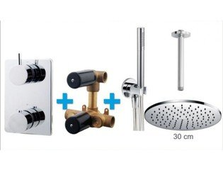 Praya One Pack Set de douche thermostatique encastrable rond avec bras plafond et douche de tête 30cm chrome SW62586