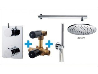 Praya One Pack Set de douche thermostatique encastrable rond avec bras mural et douche de tête 30cm chrome SW62587