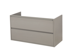 Saniclass New Future onderkast 99x45.5x55cm greeploos hangend met 2 softclose lades MDF hoogglans taupe OUTLET
