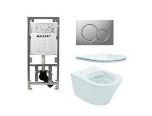 Praya Vesta toiletset Rimless 47cm inclusief UP320 toiletreservoir en flatline met softclose en quickrelease toiletzitting met bedieningsplaat mat verchroomd SW98671
