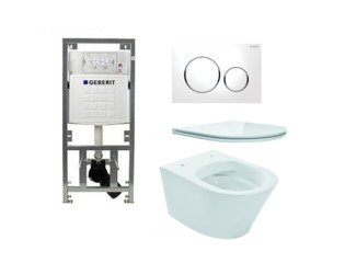 Praya Vesta toiletset Rimless 47cm inclusief UP320 toiletreservoir en flatline met softclose en quickrelease toiletzitting met sigma20 bedieningsplaat wit SW98673