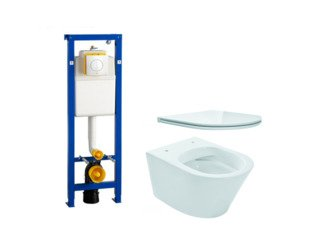 Praya Vesta toiletset Rimless 52cm inclusief Wisa XS toiletreservoir en flatline met softclose en quickrelease toiletzitting met bedieningsplaat wit SW98228