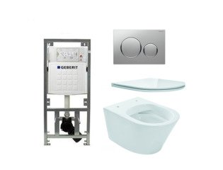 Praya Vesta toiletset Rimless 52cm inclusief UP320 toiletreservoir en flatline met softclose en quickrelease toiletzitting met sigma20 bedieningsplaat mat chroom SW98226