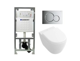 Villeroy en Boch Subway 2.0 compact DirectFlush toiletset met Geberit reservoir en bedieningsplaat glans chroom softclose met quickrelease wit SW98677